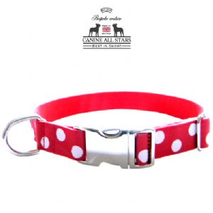 DOG COLLAR - WHITE DOTS ON RED